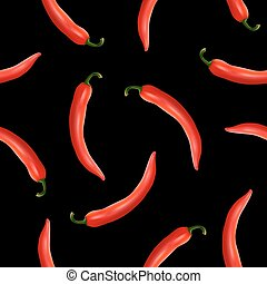 Vector seamless pattern with realistic red hot natural chili...