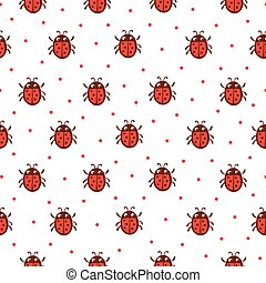 Vector seamless pattern with red ladybug.