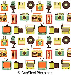 Vector Seamless Pattern with Retro technology - Vector...