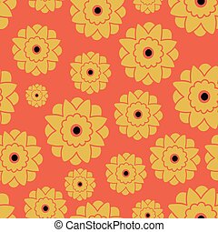 Vector Seamless pattern with retro flowers Orange