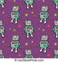 Vector seamless pattern with robot