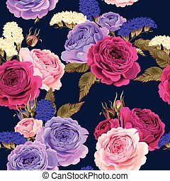 Vector seamless pattern with roses and dry flowers
