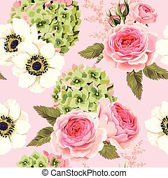 Vector seamless pattern with roses and hydrangea