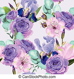 Vector seamless pattern with roses and iris