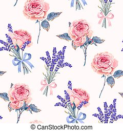 Vector seamless pattern with roses and lavender