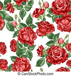 Vector seamless pattern with roses and leaves