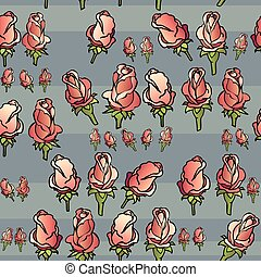 Vector seamless pattern with roses on gray background.