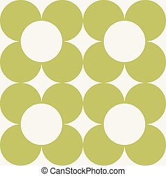 Vector seamless pattern with round flowers
