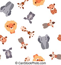Vector seamless pattern with Safari animals - Vector...