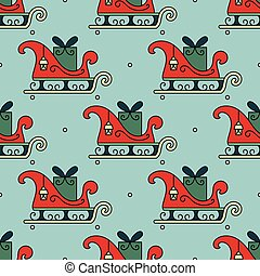 Vector seamless pattern with Santa s sleigh