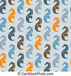 Vector Seamless Pattern with Sea Horses - vector seamless...