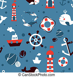 Vector seamless pattern with sea icons - abstract background