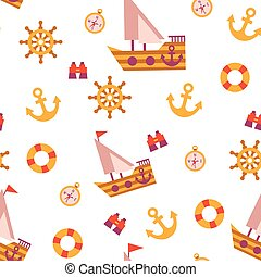 Vector seamless pattern with sea travel elements