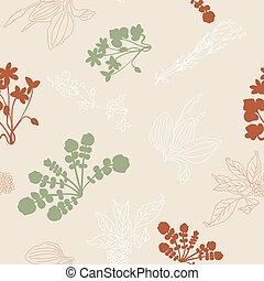 seamless pattern with silhouettes of flowers and grass.