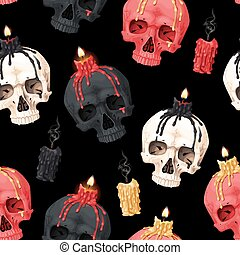 Vector seamless pattern with skull and candle