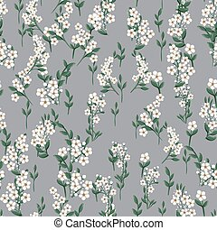 seamless pattern with small white simple flowers