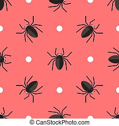 Vector seamless pattern with spiders and circles