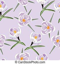 pattern with spring purple crocus