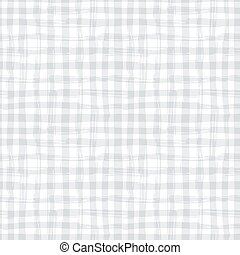 Vector seamless pattern with square hand drawn texture. Grey checkered tablecloth