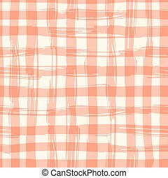 Vector seamless pattern with square hand drawn texture. Red checkered tablecloth