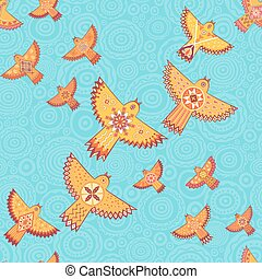Vector seamless pattern with stylized birds.