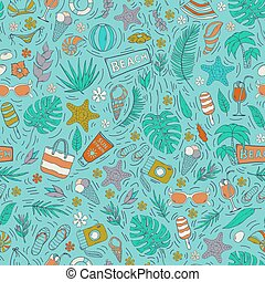 Vector seamless pattern with Summer vacation elements on a blue