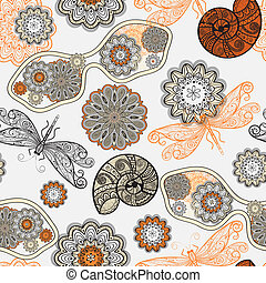 vector seamless pattern with sunglasses, flowers, shells, and dragonflies, clipping mask,  can be uelements can be used separately