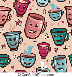 Vector seamless pattern with tea cups - cartoon background