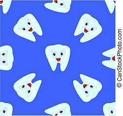 Vector seamless pattern with teeth on a blue background. Children's illustration on the theme of dentistry. The pattern of teeth.