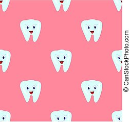 Vector seamless pattern with teeth on a pink background. Children's illustration on the theme of dentistry. The pattern of teeth.
