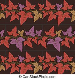 Vector seamless pattern with the ivy leaves