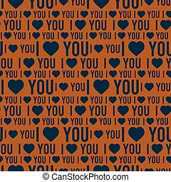 Vector seamless pattern with the words I love you on a dark orange background