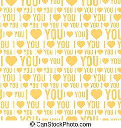 Vector seamless pattern with the words I love you on a white background