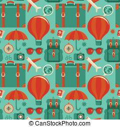 Vector seamless pattern with travel icons in flat style -...