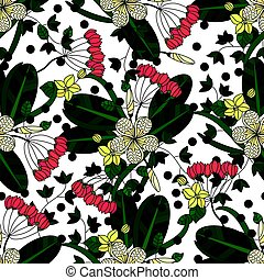 Vector seamless pattern with tropical flowers.