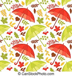 Vector Seamless Pattern with Umbrellas and Autumn Leaves