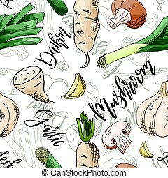 Vector seamless pattern with vegetables. Mushroom and daikon...