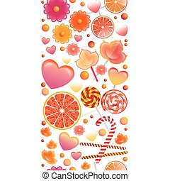 Vector seamless pattern with vertical band of sweets and lollipo