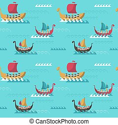 Vector seamless pattern with viking age longships