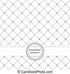 Vector seamless pattern with vintage old banner and ribbon. Repeating geometric shapes, diamond, cross, rhombus, diagonal dotted line, circle, dot, polka