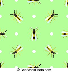 Vector seamless pattern with wasps and circles