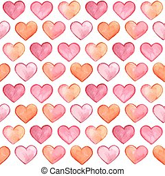Vector Seamless Pattern with Watercolor Hearts
