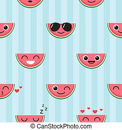 Vector seamless pattern with watermelon emoji