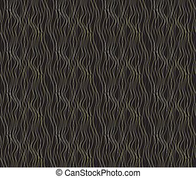 Vector seamless pattern with wavy drawn lines on a black background