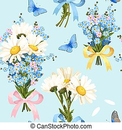 Vector seamless pattern with white and blue flower