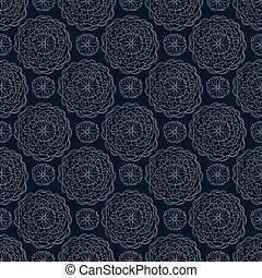 Vector seamless pattern with white floral mandala ornaments on dark blue background. Geometric flower abstract motifs