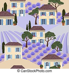 Vector seamless pattern with white french houses