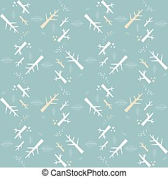Vector seamless pattern with white nature elements on a blue background