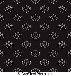 Vector seamless pattern with white outline lego bricks in isometric view on black background.
