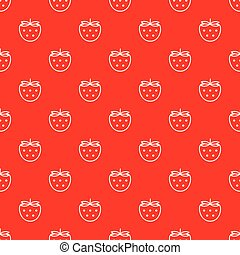 Vector seamless pattern with white outline strawberries on red background.